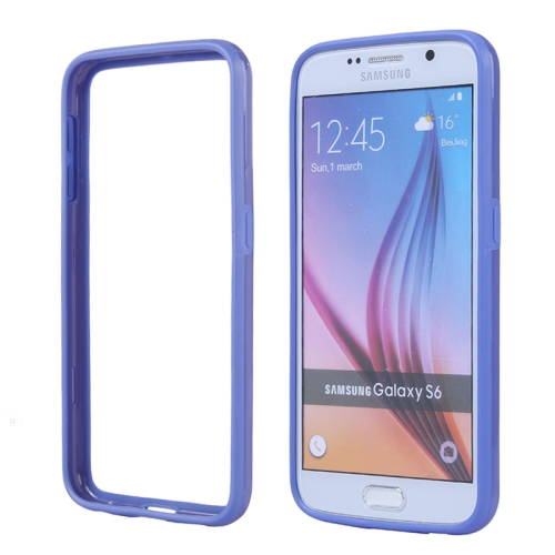 Colored Bumper Frame Soft Protective TPU Case for Samsung Galaxy S6 (Dark Blue)