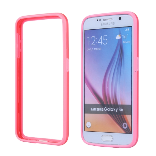 Colored Bumper Frame Soft Protective TPU Case for Samsung Galaxy S6 (Pink)