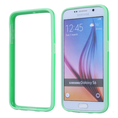 Colored Bumper Frame Soft Protective TPU Case for Samsung Galaxy S6 (Green)