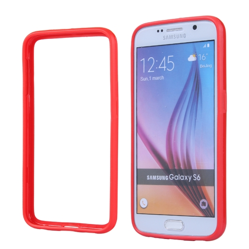 Colored Bumper Frame Soft Protective TPU Case for Samsung Galaxy S6 (Red)