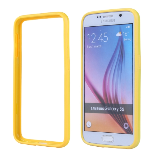 Colored Bumper Frame Soft Protective TPU Case for Samsung Galaxy S6 (Yellow)