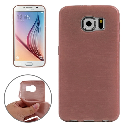 Wire Drawing Texture TPU Protective Back Cover for Samsung Galaxy S6 (Pink)