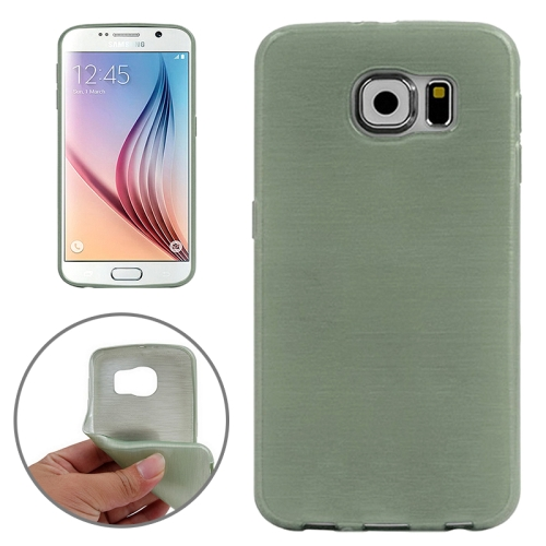 Wire Drawing Texture TPU Protective Back Cover for Samsung Galaxy S6 (Green)