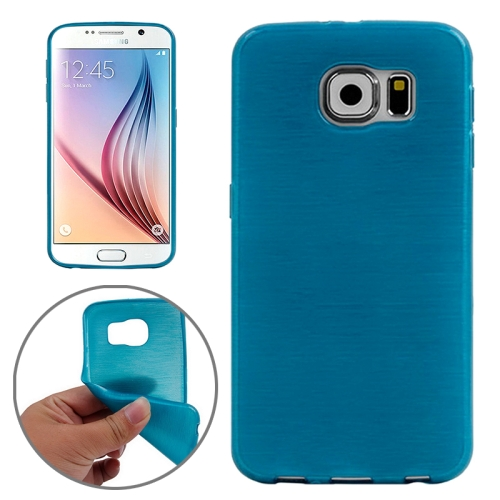 Wire Drawing Texture TPU Protective Back Cover for Samsung Galaxy S6 (Blue)