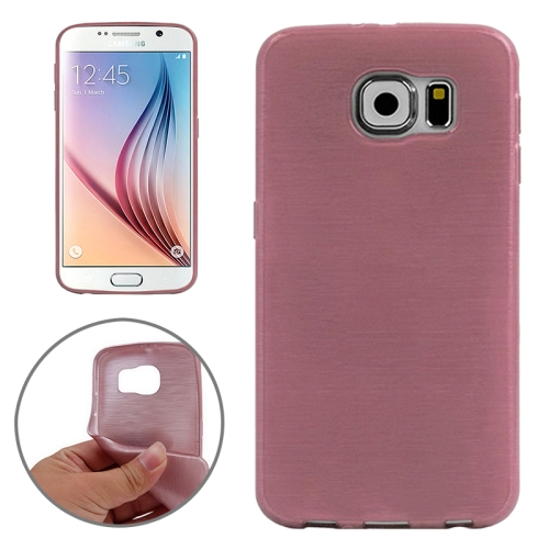 Wire Drawing Texture TPU Protective Back Cover for Samsung Galaxy S6 (Magenta)