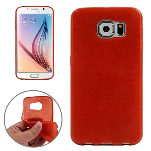 Wire Drawing Texture TPU Protective Back Cover for Samsung Galaxy S6 (Red)