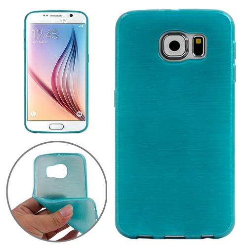 Wire Drawing Texture TPU Protective Back Cover for Samsung Galaxy S6 (Baby Blue)