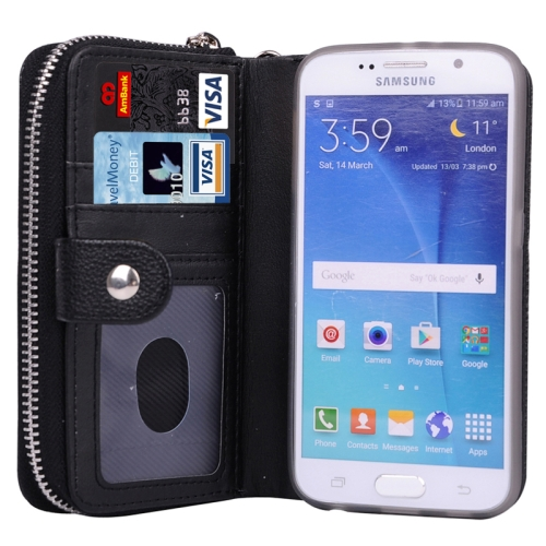Litchi Texture Wallet Bag Pattern Detachable Leather Case for Samsung Galaxy S6 with Zipper and Lanyard (Black)