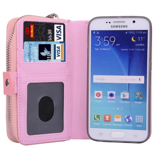 Litchi Texture Wallet Bag Pattern Detachable Leather Case for Samsung Galaxy S6 with Zipper and Lanyard (Pink)