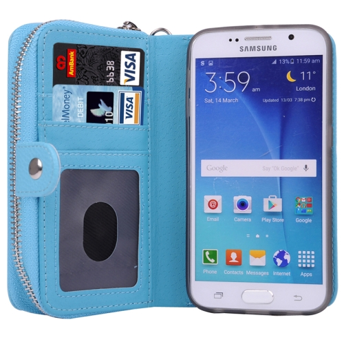 Litchi Texture Wallet Bag Pattern Detachable Leather Case for Samsung Galaxy S6 with Zipper and Lanyard (Blue)