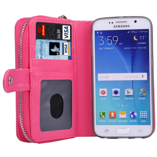 Litchi Texture Wallet Bag Pattern Detachable Leather Case for Samsung Galaxy S6 with Zipper and Lanyard (Rose)