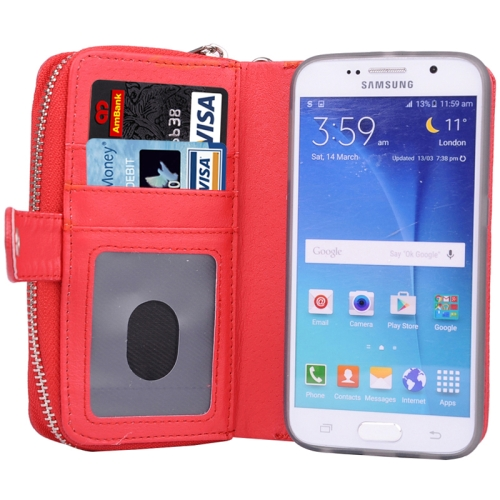 Litchi Texture Wallet Bag Pattern Detachable Leather Case for Samsung Galaxy S6 with Zipper and Lanyard (Red)
