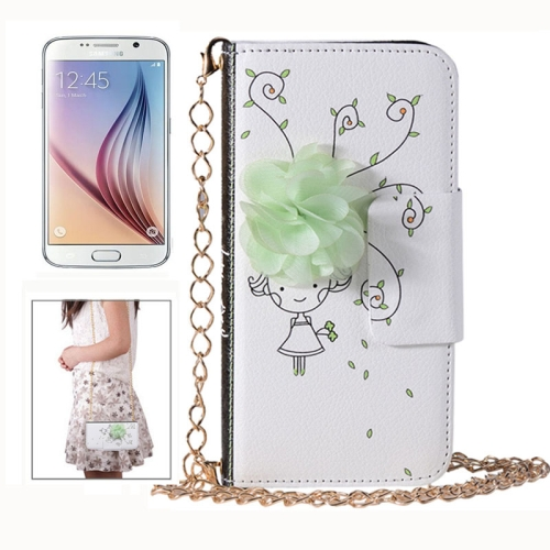 Little Girl Pattern Wallet Lady Bag Style Flip Leather Case for Samsung Galaxy S6 with Chain