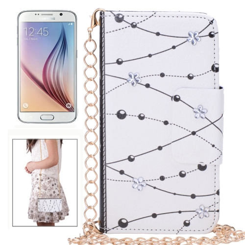 Bead Pattern Diamond-Encrusted Wallet Style Leather Case for Samsung Galaxy S6