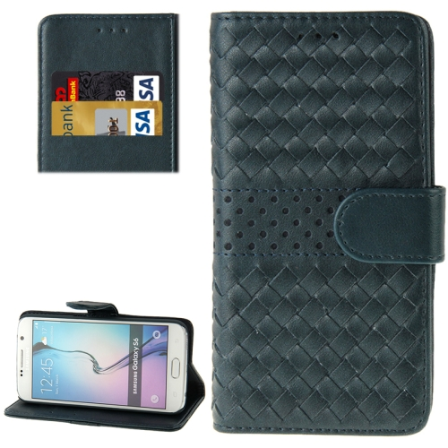 Grid Texture Flip Leather Case for Samsung Galaxy S6 with Holder & Card Slots (Blue)