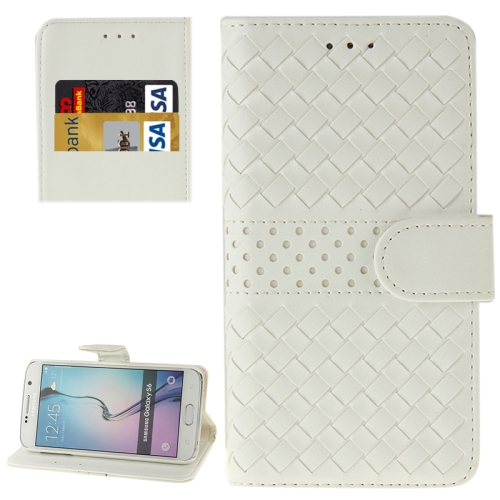Grid Texture Flip Leather Case for Samsung Galaxy S6 with Holder & Card Slots (White)