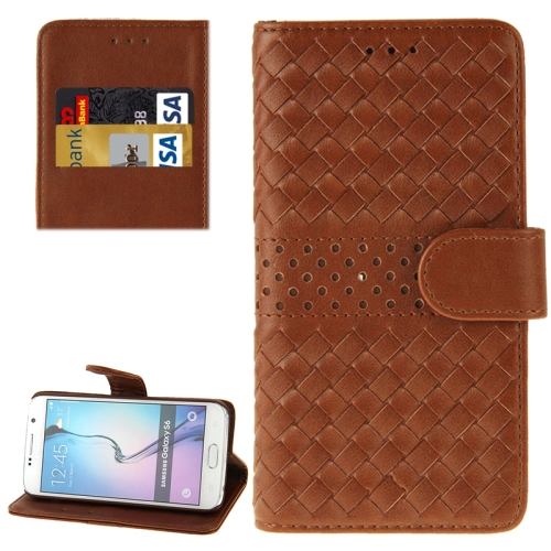Grid Texture Flip Leather Case for Samsung Galaxy S6 with Holder & Card Slots (Brown)