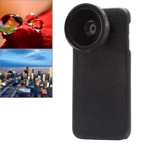 2 in 1 37mm Digital High Definition 0.45X Super Wide Angle Lens + Macro Lens for Samsung Galaxy S6 with Phone Case