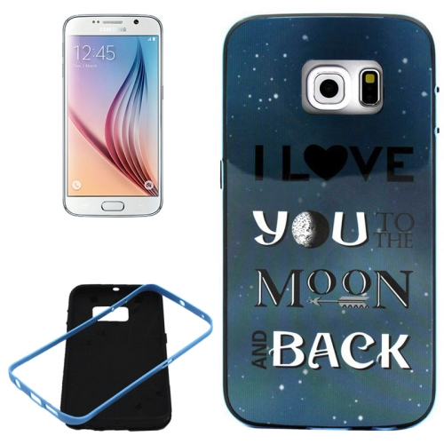 PC Frame and Synthetic Rubber Back Hybrid Case for Samsung Galaxy S6 Edge (Moon Back Pattern)