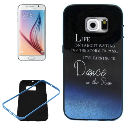 PC Frame and Synthetic Rubber Back Hybrid Case for Samsung Galaxy S6 Edge (Dance at the Rain Pattern)