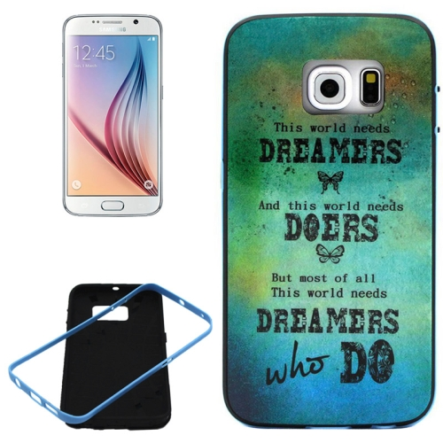 PC Frame and Synthetic Rubber Back Hybrid Case for Samsung Galaxy S6 Edge (Dreamers Pattern)