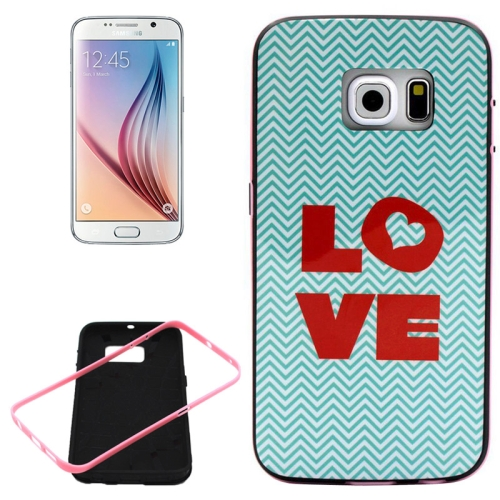 PC Frame and Synthetic Rubber Back Hybrid Case for Samsung Galaxy S6 Edge (Love Pattern)