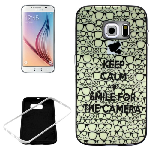 PC Frame and Synthetic Rubber Back Hybrid Case for Samsung Galaxy S6 Edge (Glasses Pattern)
