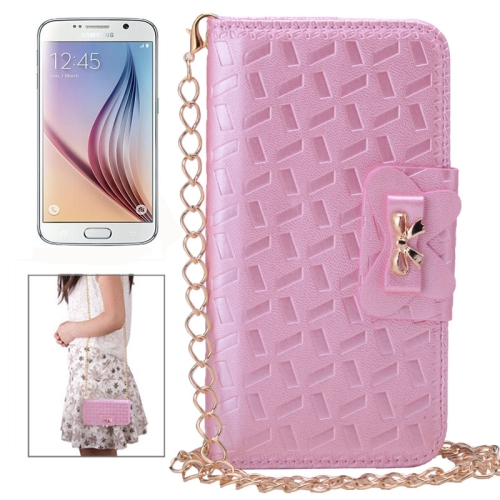 Bowknot Embossing Pattern Leather Case for Samsung Galaxy S6 with Chain and Card Slots (Pink)
