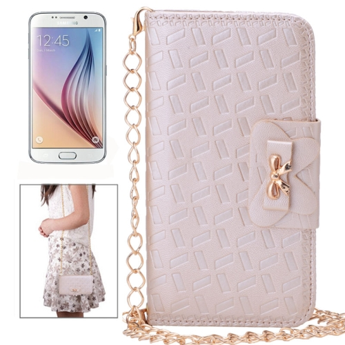 Bowknot Embossing Pattern Leather Case for Samsung Galaxy S6 with Chain and Card Slots (Beige)