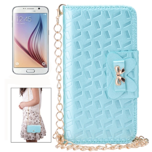 Bowknot Embossing Pattern Leather Case for Samsung Galaxy S6 with Chain and Card Slots (Blue)