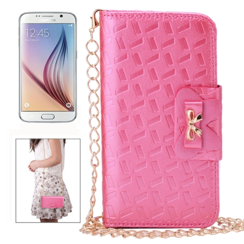 Bowknot Embossing Pattern Leather Case for Samsung Galaxy S6 with Chain and Card Slots (Magenta)