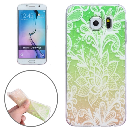 Ultra-Thin Carved Flower Pattern Transparent Frame TPU Case for Samsung Galaxy S6 (Green)