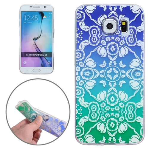 Ultra-Thin Carved Flower Pattern Transparent Frame TPU Case for Samsung Galaxy S6 (Blue)