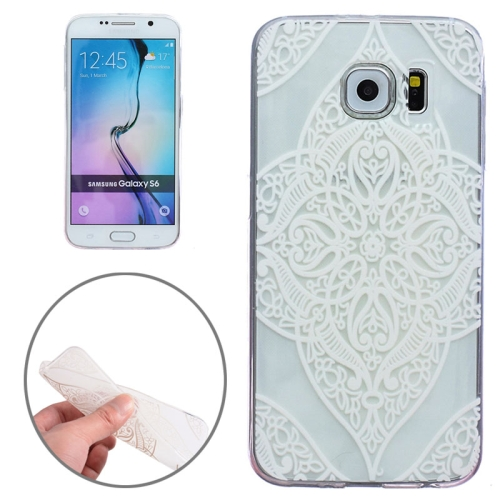 Ultra-Thin Carved Flower Pattern Transparent Frame TPU Case for Samsung Galaxy S6 (White Flower Pattern 4)