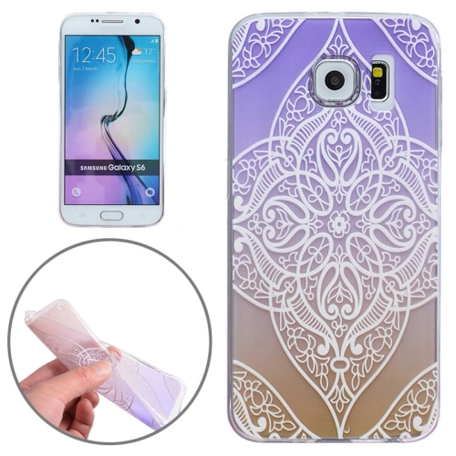 Ultra-Thin Carved Flower Pattern Transparent Frame TPU Case for Samsung Galaxy S6 (Purple)