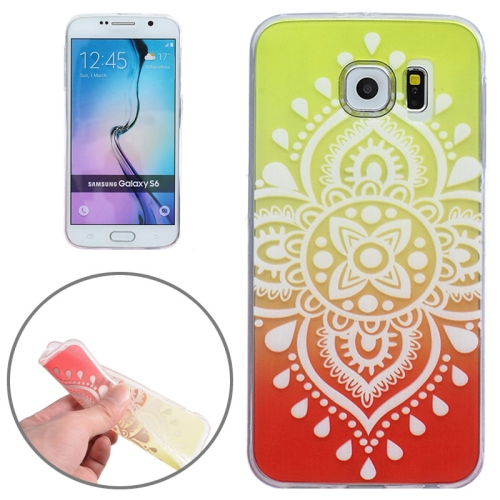 Ultra-Thin Carved Flower Pattern Transparent Frame TPU Case for Samsung Galaxy S6 (Yellow)