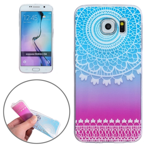 Ultra-Thin Carved Flower Pattern Transparent Frame TPU Case for Samsung Galaxy S6 (Baby Blue)
