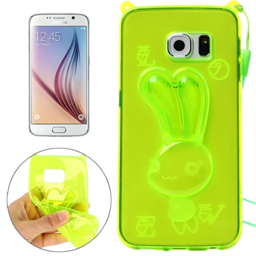 Rabbit Pattern TPU Protective Back Cover for Samsung Galaxy S6 with Lanyard (Green)