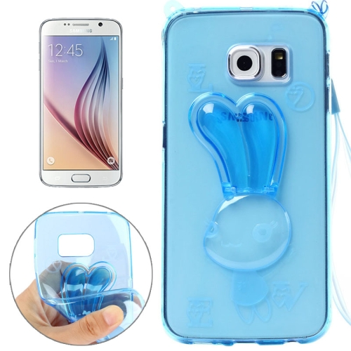 Rabbit Pattern TPU Protective Back Cover for Samsung Galaxy S6 with Lanyard (Blue)