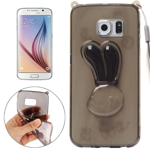 Rabbit Pattern TPU Protective Back Cover for Samsung Galaxy S6 with Lanyard (Brown)