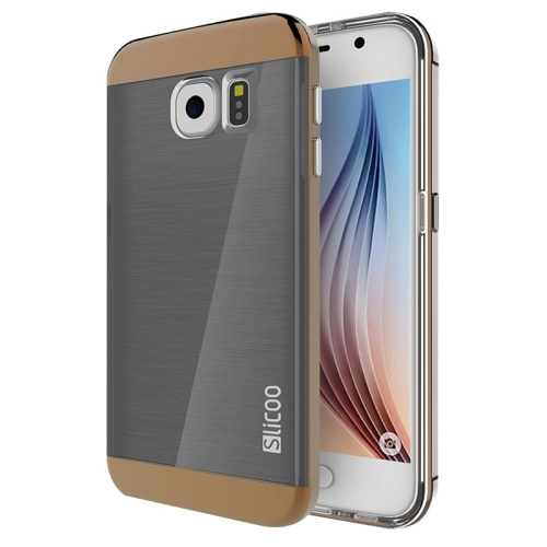 New Electroplating Slicoo Brushed Texture Combination Case for Samsung Galaxy S6 / G920 (Coffee)