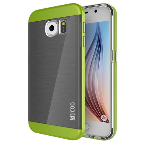 New Electroplating Slicoo Brushed Texture Combination Case for Samsung Galaxy S6 / G920 (Green)