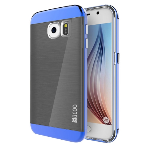 New Electroplating Slicoo Brushed Texture Combination Case for Samsung Galaxy S6 / G920 (Blue)