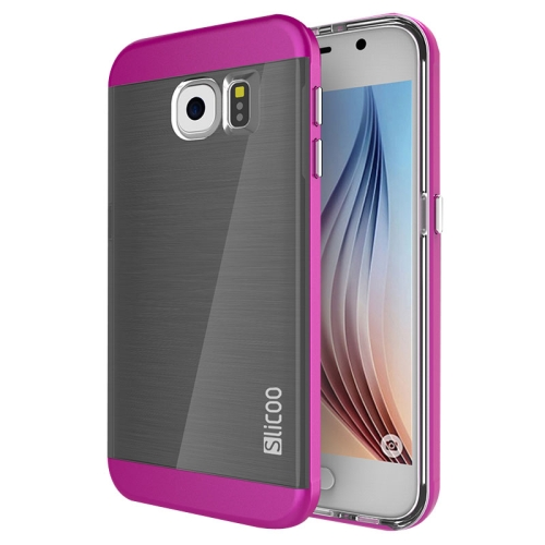 New Electroplating Slicoo Brushed Texture Combination Case for Samsung Galaxy S6 / G920 (Magenta)