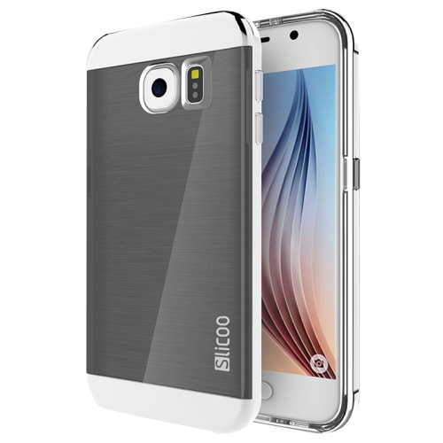 New Electroplating Slicoo Brushed Texture Combination Case for Samsung Galaxy S6 / G920 (Silver)