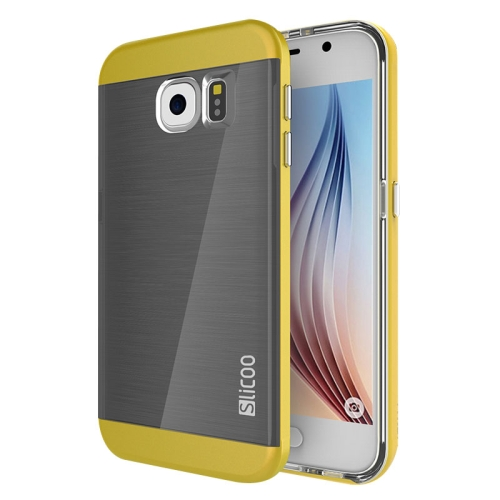 New Electroplating Slicoo Brushed Texture Combination Case for Samsung Galaxy S6 / G920 (Yellow)