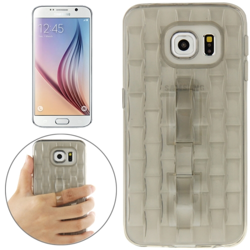 New Ice Sculptures TPU Protective Case Cover for Samsung Galaxy S6 / G920 with Handle (Gray)