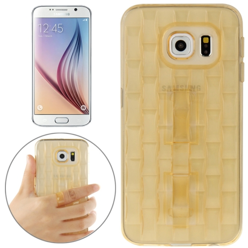 New Ice Sculptures TPU Protective Case Cover for Samsung Galaxy S6 / G920 with Handle (Yellow)