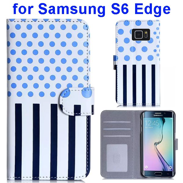 Dot and Stripe Pattern Flip Wallet Case for Samsung Galaxy S6 Edge with Stand (Light Blue)