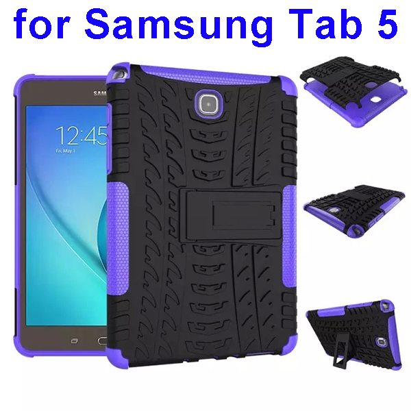 2 In 1 Pattern Anti Skid Texture Silicone and PC Hybrid Case for Samsung Galaxy Tab 5 with Kickstand (Purple)